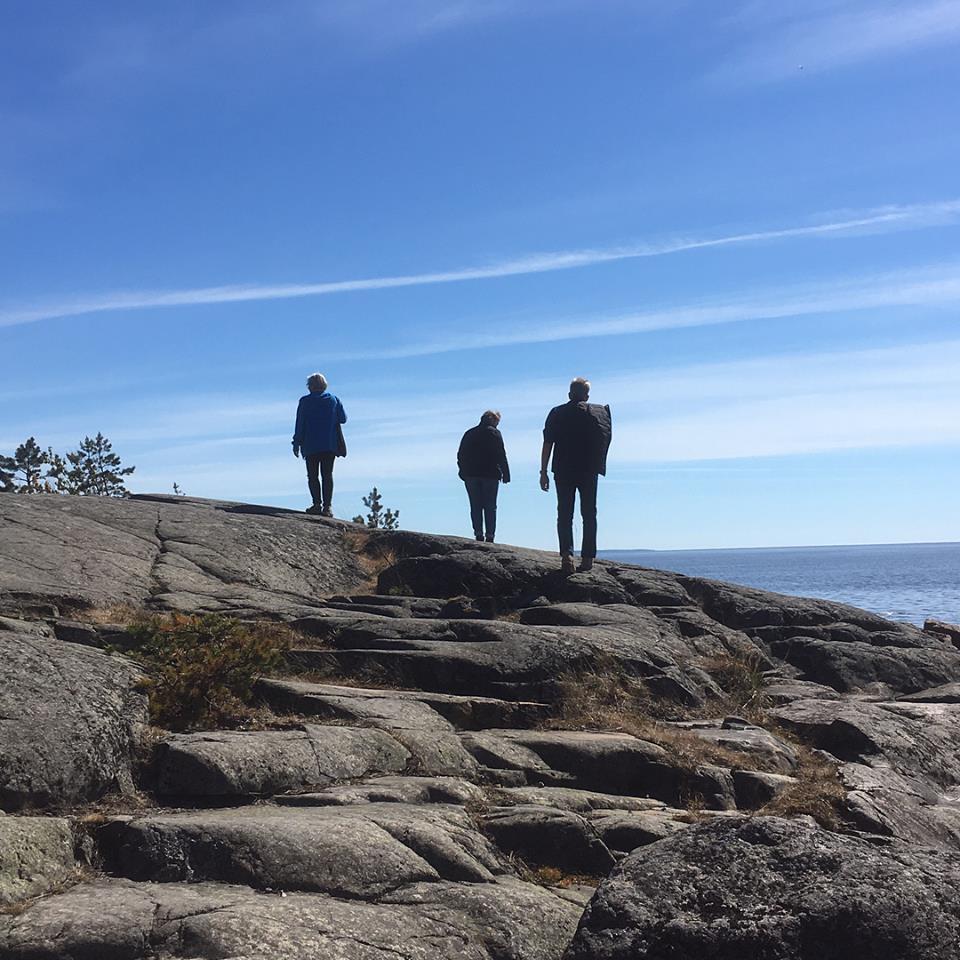 Kesäretkellä v. 2018 tutustuttiin Reposaaren Takarannan kalliohakkauksiin. Kuva: Maarit Grahn.