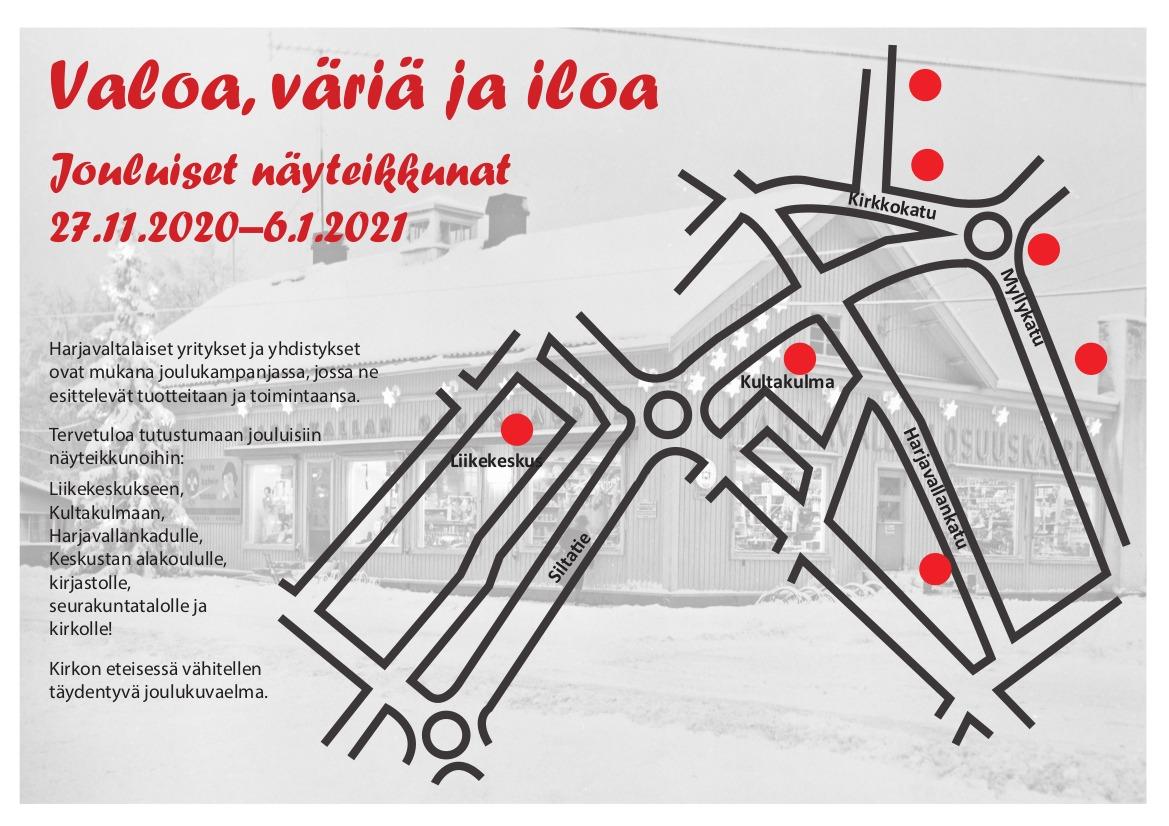 Kuvassa on jouluikkunakampanjan kartta, jossa näkyvät ikkunoiden sijainnit.