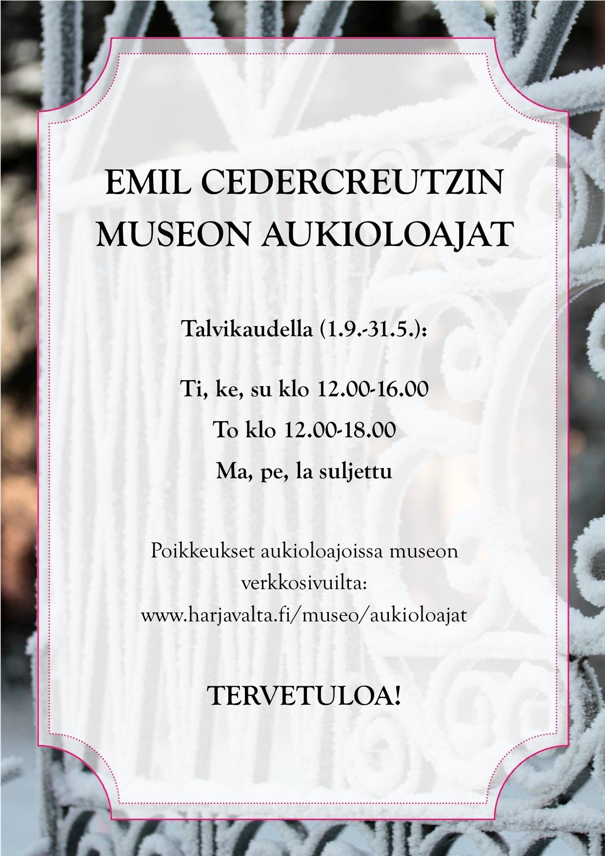 Kuvassa museon aukioloajat, jotka ovat myös sivun tekstiosuudessa. Kuva on koristeellinen.