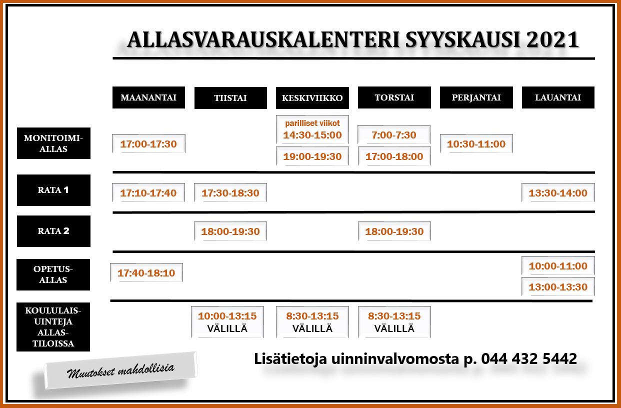 Syksyn 2021 allasvarauskalenteri. Muutokset mahdollisia. Lisätietoja uinninvalvomosta 044-432 5442.