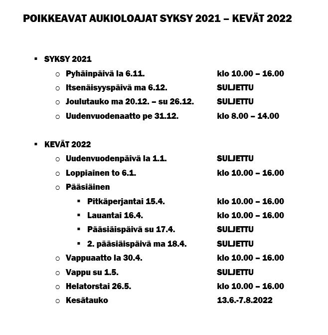 Uimahallin poikkeavat aukioloajat syksyllä 2021 ja keväällä 2022.