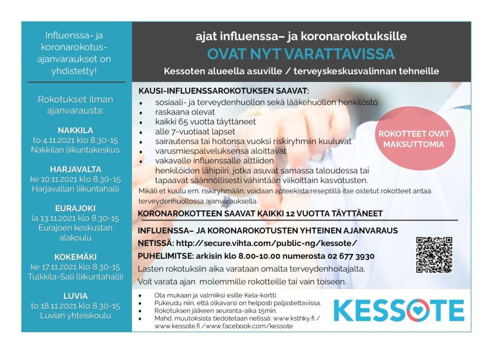 Influenssa- ja koronarokotusilmoitus